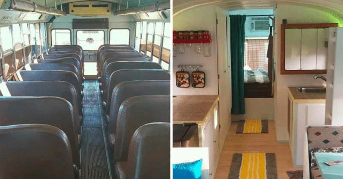 Isä ja poika muuttivat vanhan koulubussin kodiksi – katso upeat kuvat!