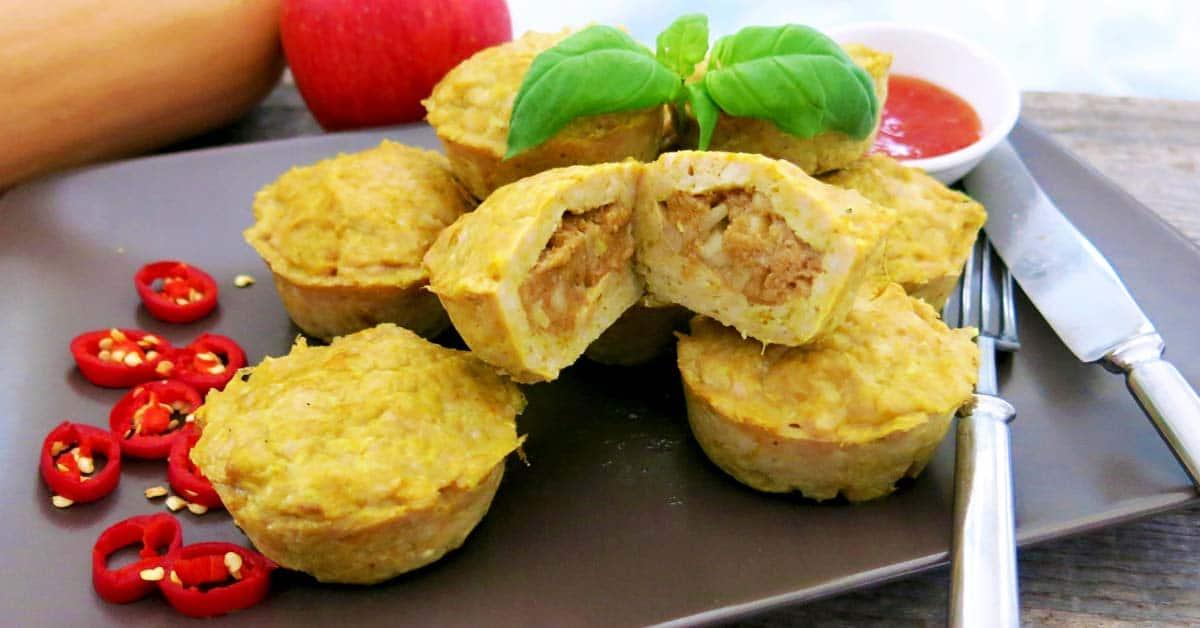 Omenalla ja kurpitsalla täytetetyt broilerimurekkeet