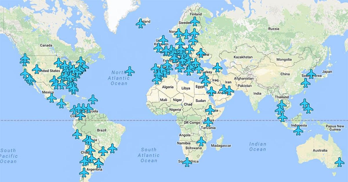 Somehitti: Mies laittoi maailman eri lentokenttien wifi-salasanat kartalle