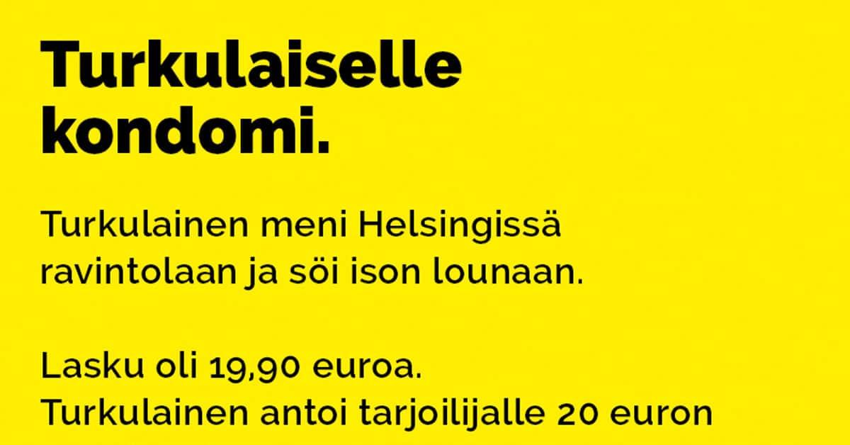 Vitsit: Turkulaiselle kondomi