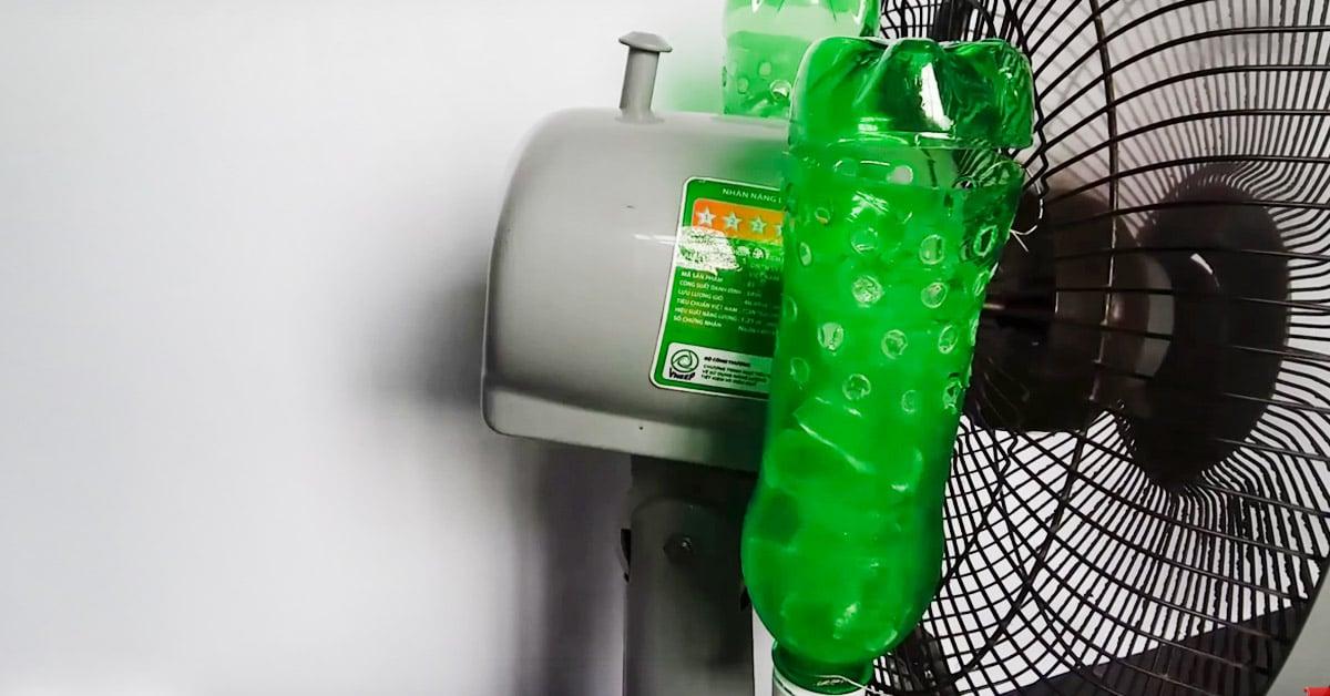 Näin rakennat tuulettimesta ja puolen litran muovipulloista jäähdyttimen