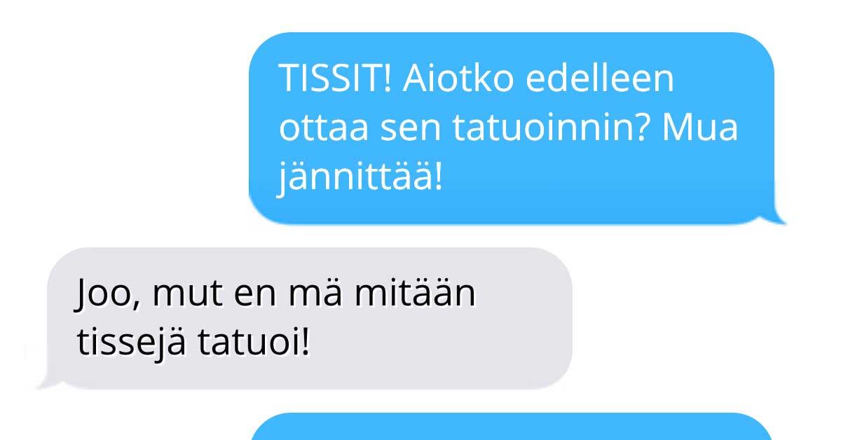 Tekstarimokat: Hän tatuoi tissit rintoihin