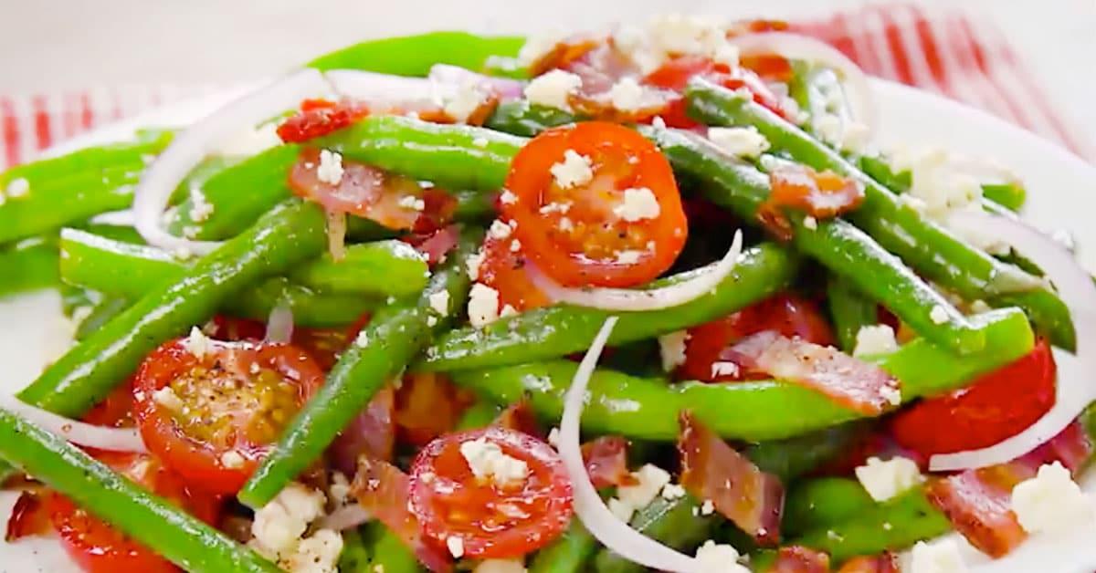 Papusalaatti vihreistä pavuista + salaattikastike balsamicosta