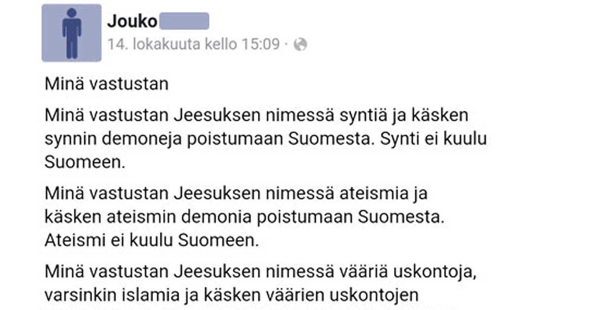 """Feissarimokat: Miehen """"Minä vastustan"""" kirjoitus herättää tunteita – """"Ei kuulu Suomeen"""""""