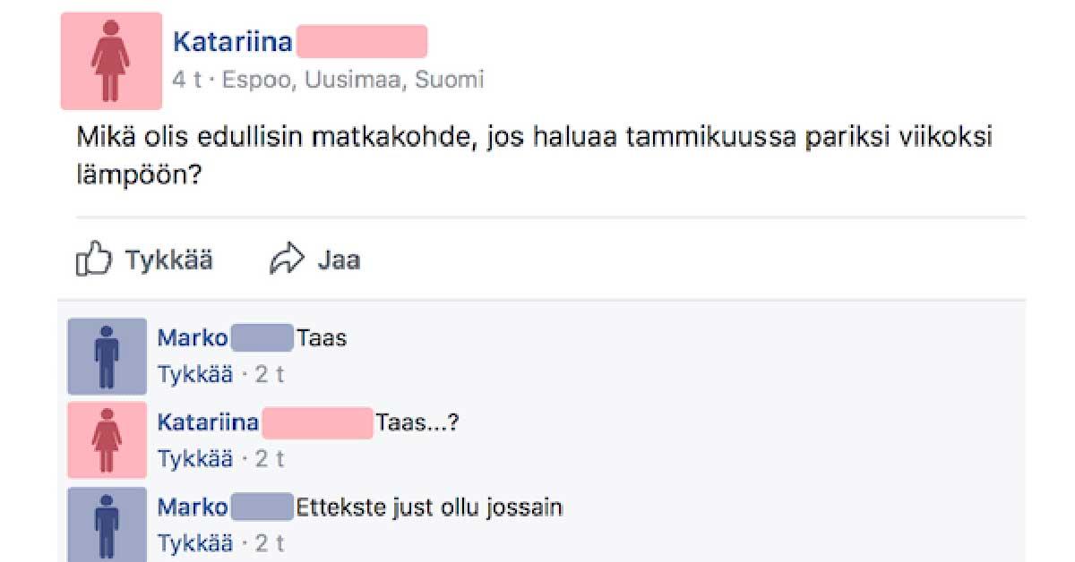 Feissarimokat: Saako lomarahoilla matkustaa, jos Suomessa on köyhiä?