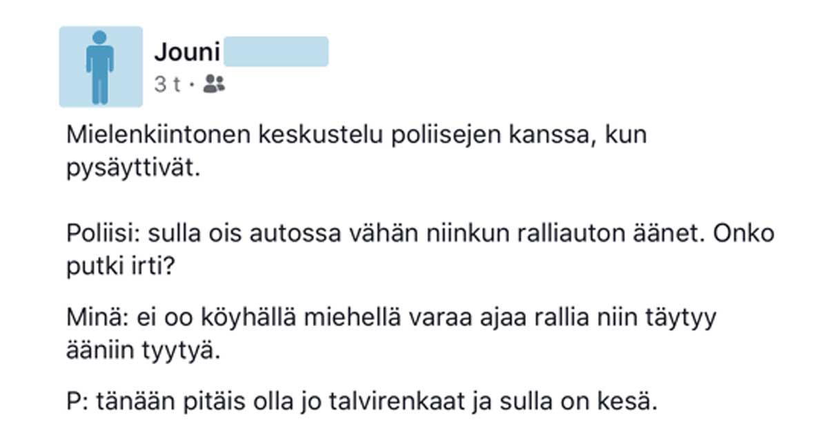 Feissarimokat: Kun poliisi pysäytti – suomalaiset kertovat