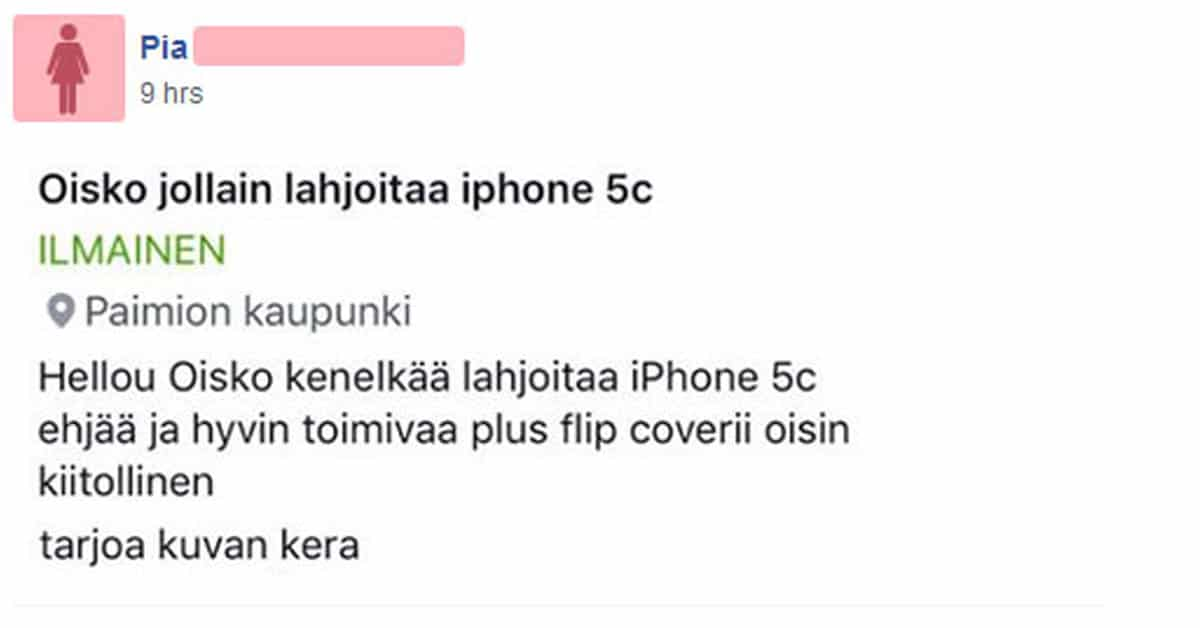 Feissarimokat: Oisko lahjoittaa iPhone?