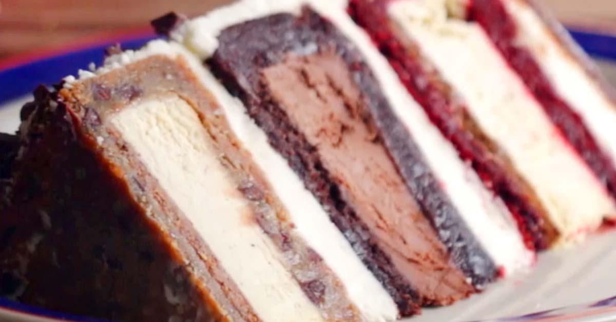 3-kerroksinen suklaa-juustokakkutorni – kun perinteinen ei enää riitä