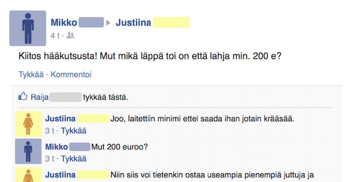 Feissarimokat: Justiina vaatii rahaa häälahjaksi ja haukkuu vieraat roskasakiksi