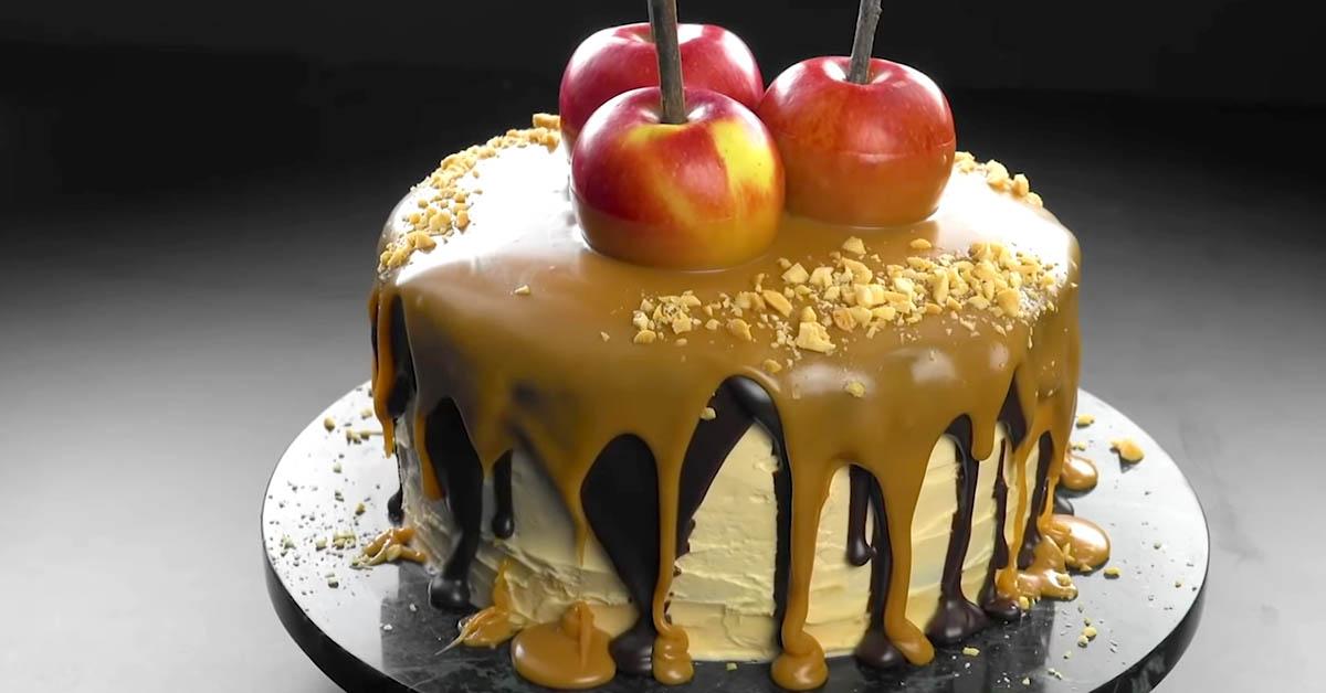 Käännä kulho ylösalaisin ja leikkaa reunat – tämä omena-kinuskikakku on ilmiömäinen