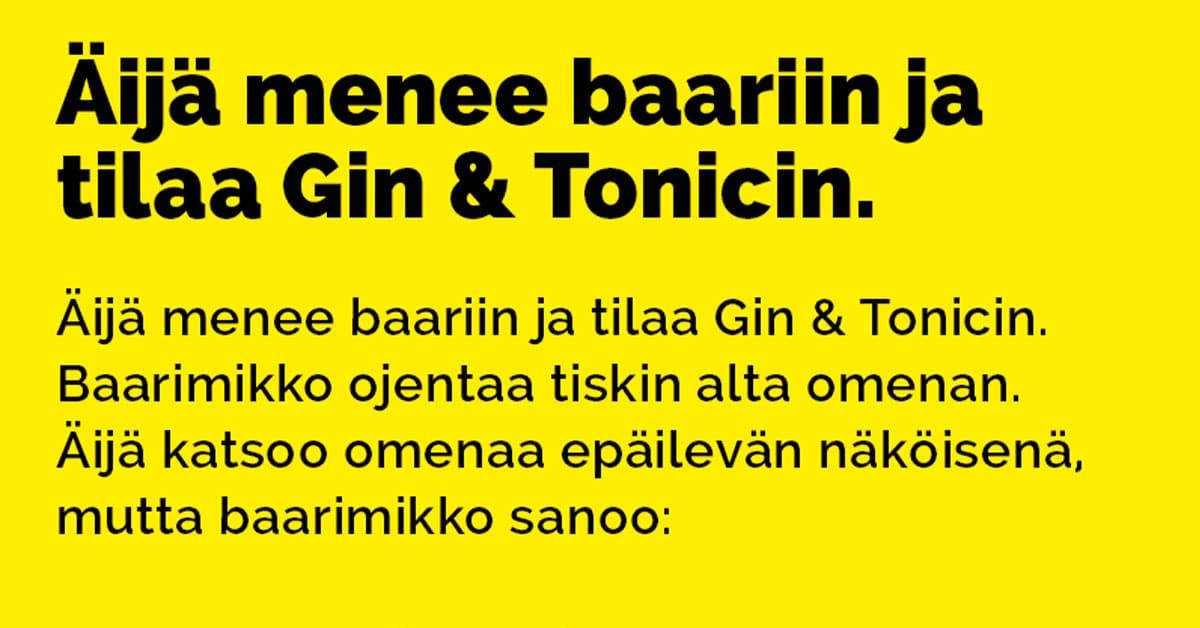 VITSIT: Mies menee baariin ja tilaa Gin Tonicin – baarimikko pyytää puraisemaan