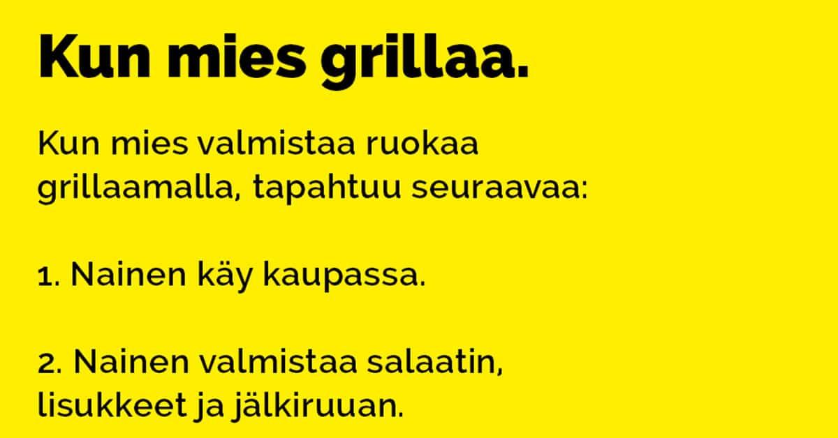 VITSIT: Kun mies grillaa – tämä pitää jakaa kaikille suomalaisille
