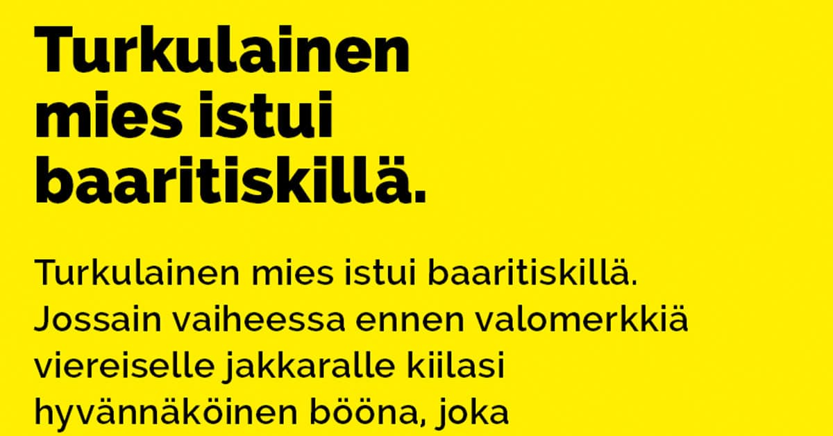 VITSIT: Turkulainen istui baaritiskillä – kaunis nainen tekee ehdotuksen
